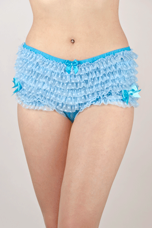 Blue Frilly Knicker with Dotted Ruffled Mesh and ribbons