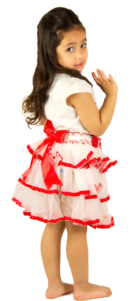 White and red layered ballerina skirt for kids