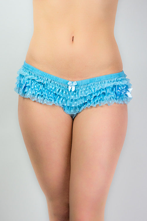 Ruffled, Frilly blue knickers with little bows