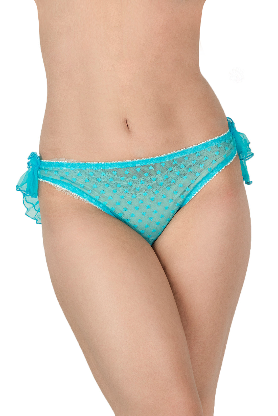 See-through knickers with polka dots and layered ruffles at back