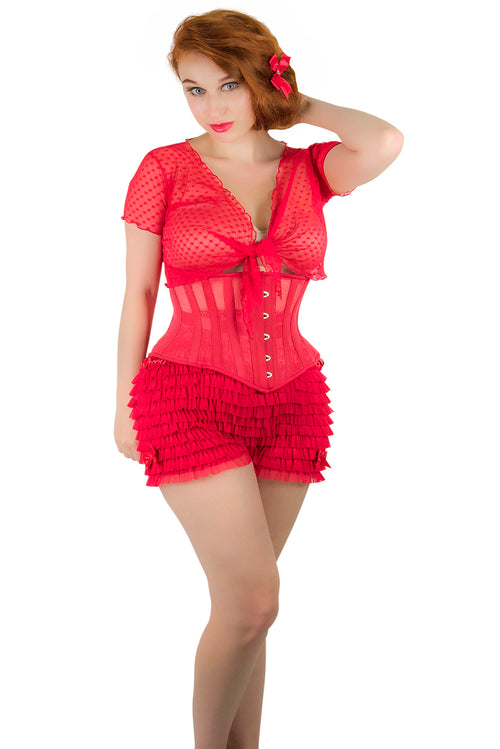 Clearance - Lola Underbust Red Mesh Corset