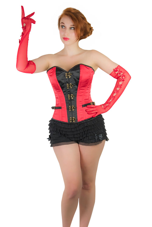 Clearance - Norma Overbust Corset Red Black
