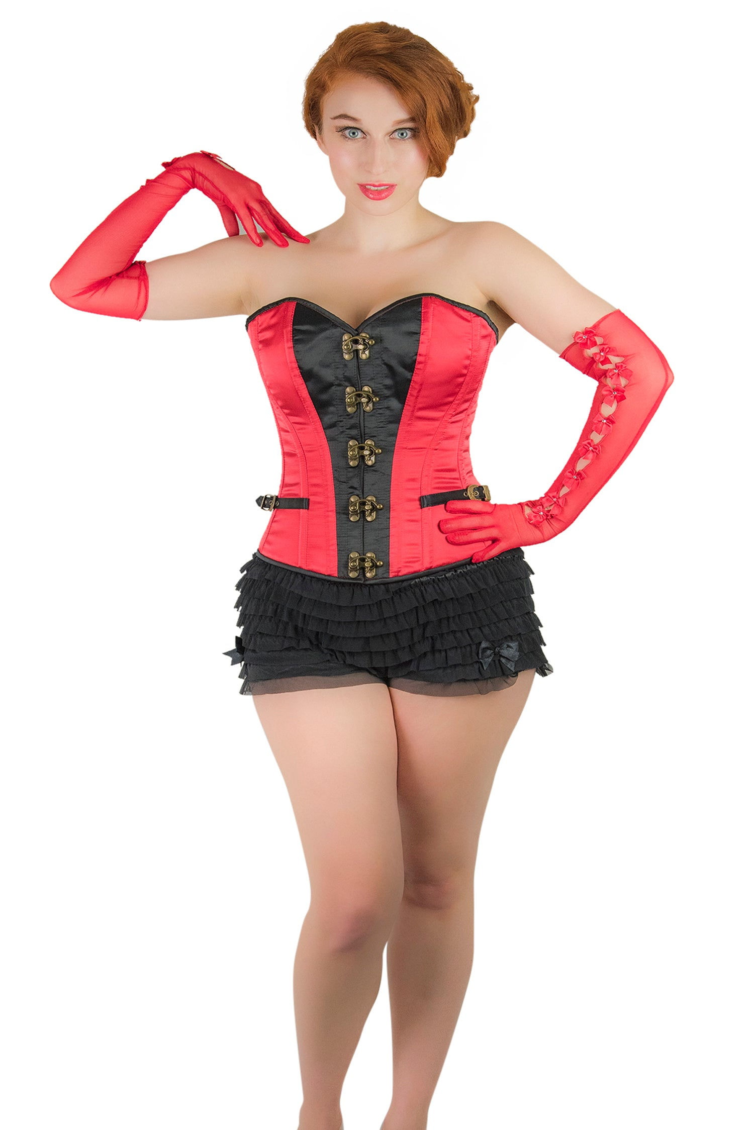 Norma Overbust Corset Red Black