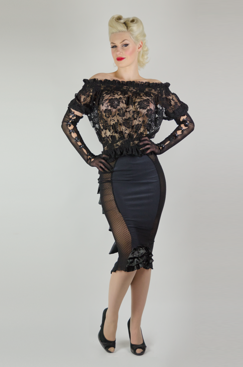 Long Black Seethrough Penci Skirt with Ruffles