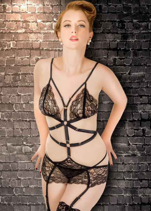Diana Black Lace Bondage Suspender Suit