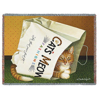 CAT'S IN THE BAG WOVEN AFGHAN TAPESTRY THROW - My Gift Obsession