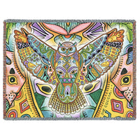 NATIVE AMERICAN GREAT HORNED OWL WOVEN AFGHAN THROW - My Gift Obsession