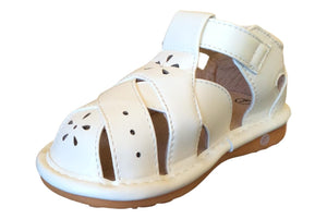 White Closed Toe leather Sandal