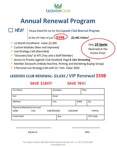 Legends Club Annual Renewal Program WITHOUT Flash Drive