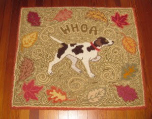 "Designed and punched by Andrea Clark, Ridgeland, South Carolina. Andrea says, ""The rug pictured was in honor of one of my pointers which has had a very successful Field Trial career."""