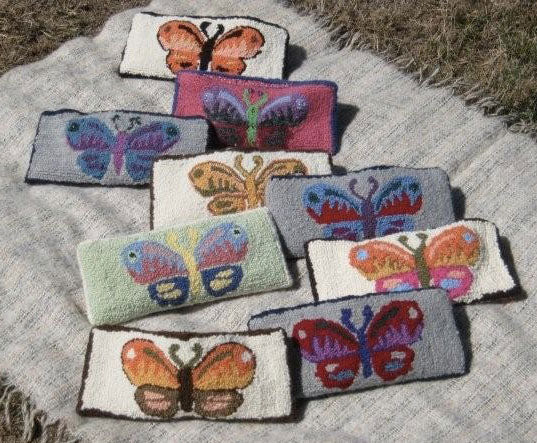 Butterfly Purses. Punched by the Holy Hill Hooking group of Limerick, Maine.