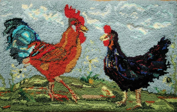 Cock-A-Doodle-Do. Designed and punched by Rebecca Dufton, Cumberland, Ontario, Canada.
