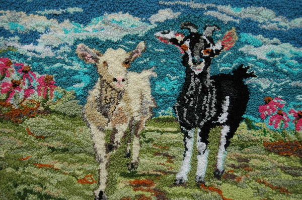 Goats. Designed and punched by Rebecca Dufton, Cumberland, Ontario, Canada.