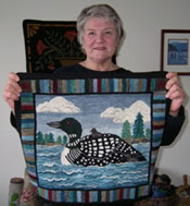 Iris Simpson and her loon rug.