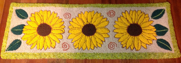 Sunflower Rug. Designed and punched by Irma Higgins, Ripton, Vermont.