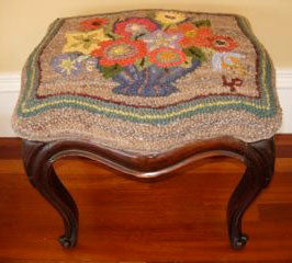 Footstool. Designed and punched by Lori Pease, Cambridge, Massachusetts.