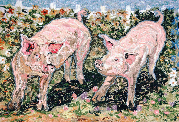 Pigs. Designed and punched by Rebecca Dufton, Cumberland, Ontario, Canada.