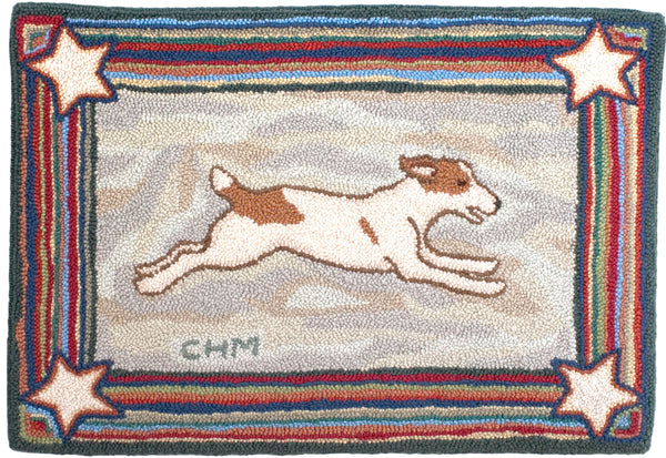 McAdoo Rugs Spry Jack Russell hooked rug.