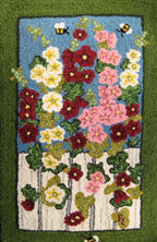 Hollyhocks designed & hooked by Pat Lissandrello