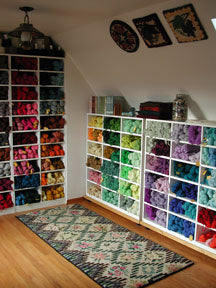 Barbara Benner's Red Clover Rugs studio