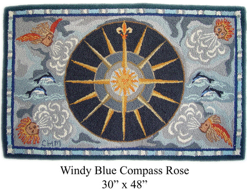 Windy Blue Compass Rose