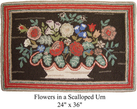 Flowers in a Scalloped Urn