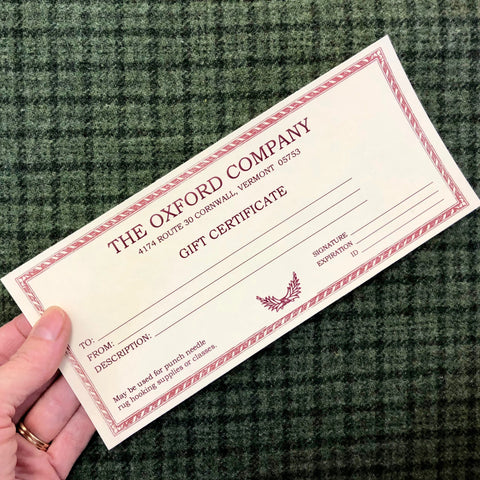 Gift Certificate (To be used by calling us or when visiting our school/shop)