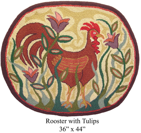 Rooster with Tulips