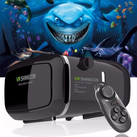 VR Virtual Reality 3D Glasses + Smart Bluetooth Wireless Remote Control Gamepad supports ios & android