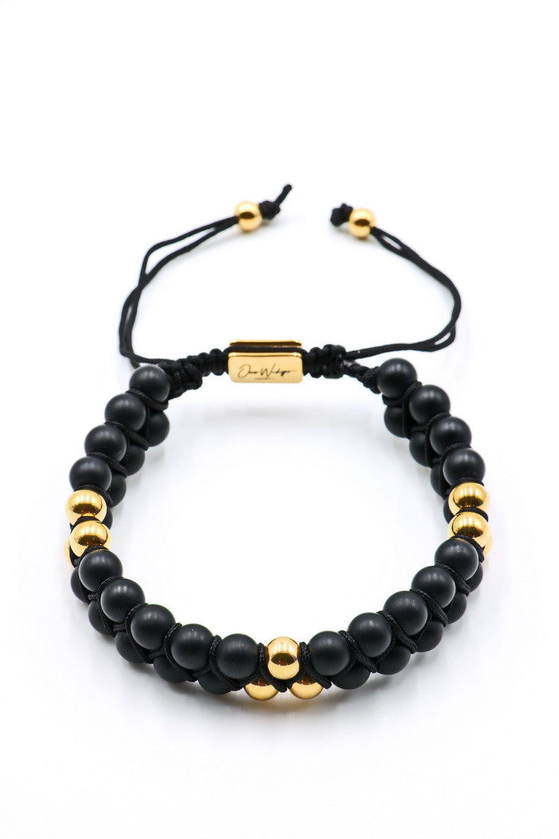 Black Matte Onyx Double Beaded Bracelet 6mm