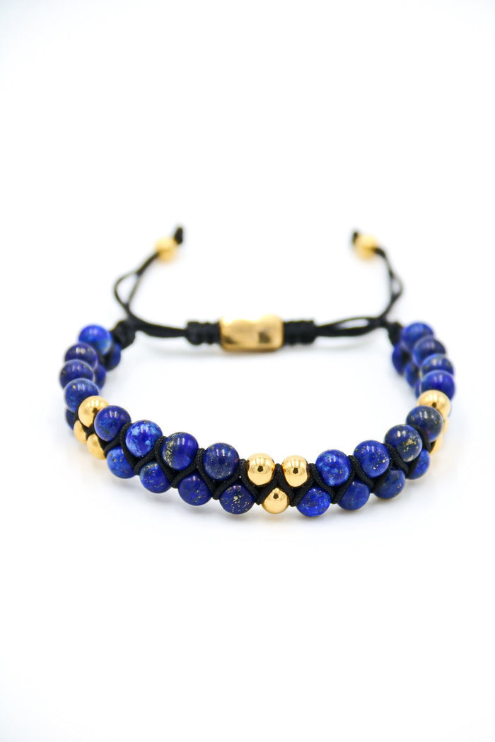 Blue Lapis Double Beaded Bracelet 6mm