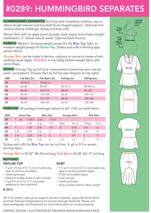 SEWING CAKE 0289 - HUMMINGBIRD PEPLUM TOP AND SKIRT (PDF)