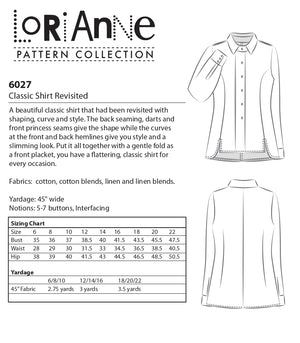 LORIANNE PATTERNS 6027 - CLASSIC SHIRT REVISTED (PRINTED)
