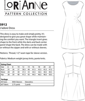 LORIANNE PATTERNS 5912 - J'ADORE DRESS (PRINTED)