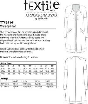 LORIANNE PATTERNS 5914 - WALKING COAT (PRINTED)