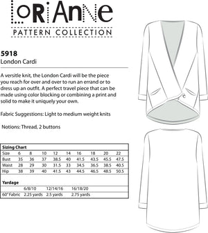 LORIANNE PATTERNS 5918 - LONDON CARDI (PRINTED)