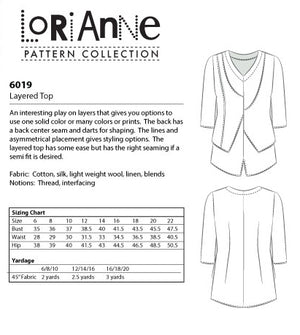 LORIANNE PATTERNS 6019 - LAYERED TOP (PRINTED)