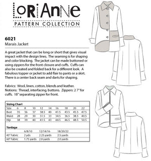 LORIANNE PATTERNS 6021 - MARAIS JACKET (PRINTED)