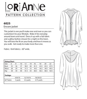LORIANNE PATTERNS 6025 - ENCORE JACKET (PRINTED)