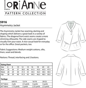 LORIANNE PATTERNS 5916 - ASYMMETRY JACKET (PRINTED)