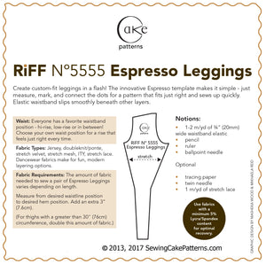 SEWING CAKE 5555 - EXPRESSO LEGGINGS (PRINTED)