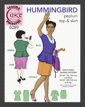 SEWING CAKE 0289 - HUMMINGBIRD PEPLUM TOP AND SKIRT (PRINTED)