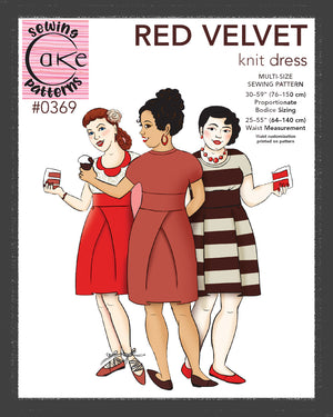 SEWING CAKE 0369 - RED VELVET KNIT DRESS (PRINTED)