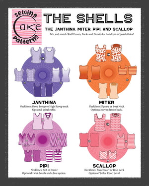 SEWING CAKE 1002 THE SHELLS - JANTHINA, MITER, PIPI, SCALLOP (PRINTED)