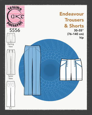 SEWING CAKE 5556 - ENDEAVOUR TROUSERS AND SHORTS (PRINTED)