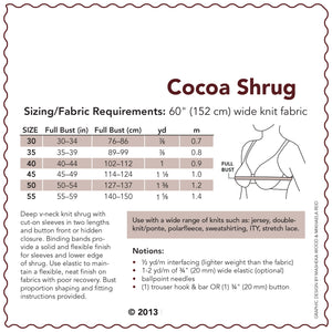 SEWING CAKE 3333 - COCOA KNIT SHRUG (PRINTED)