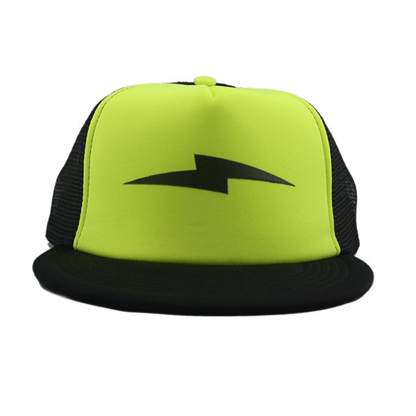 Bolt Trucker Snapback in Black/Neon