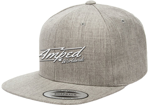 Worldwide Flat Snapback in Heather