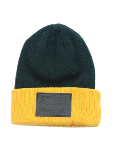 Boss Beanie in Dark Green/Gold