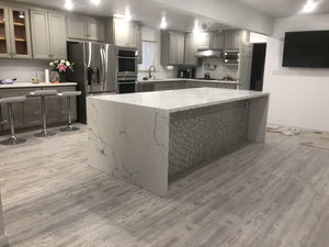 Kitchen island with waterfall counter